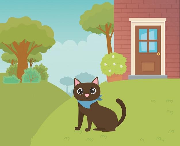 Illustrateur de vecteur de dessin animé chat Vecteur gratuit