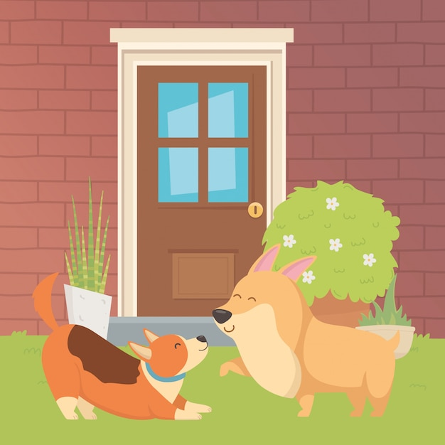 Illustrateur de vecteur de dessins de dessins animés de chiens Vecteur gratuit