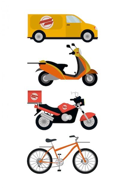 Illustrateur de vecteur de véhicules de service de livraison Vecteur Premium