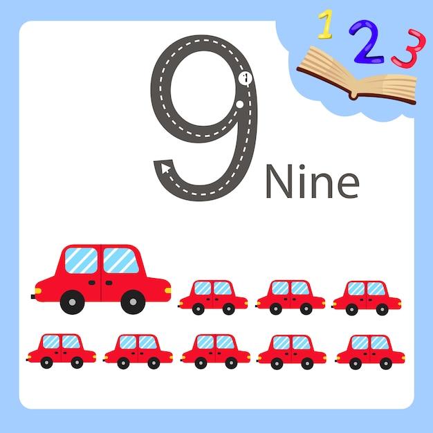 Illustrateur de voiture à neuf numéros Vecteur Premium