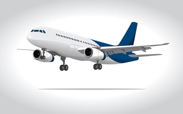Illustration 3d avion commercial Vecteur Premium