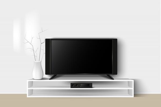 Illustration 3d Du Meuble Tv Led Sur Une Table En Bois. Salon Intérieur Design Intérieur Moderne. Vecteur Premium