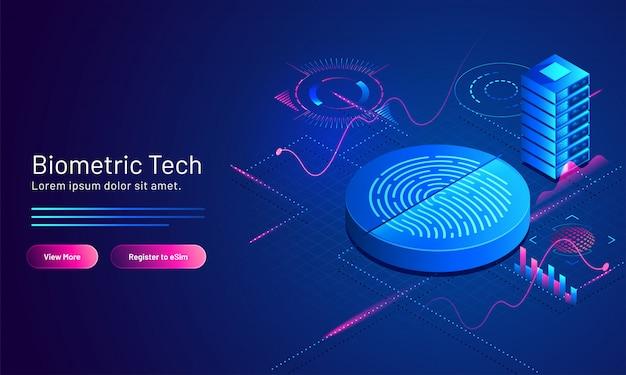 Illustration 3d De L'empreinte Biométrique Et Du Serveur Sur Blue Scientific Pour Une Page De Renvoi Basée Sur La Technologie Biométrique. Vecteur Premium