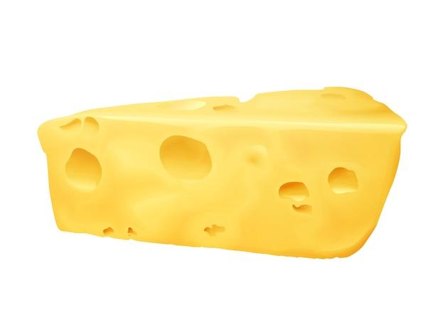 Illustration 3d de fromage. emmental ou cheddar et edam fromage triangle avec des trous Vecteur gratuit