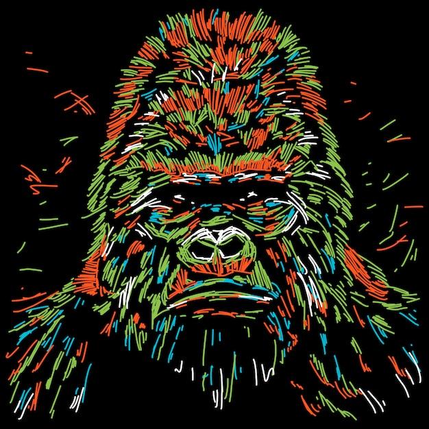 Illustration abstraite de gorille coloré Vecteur Premium