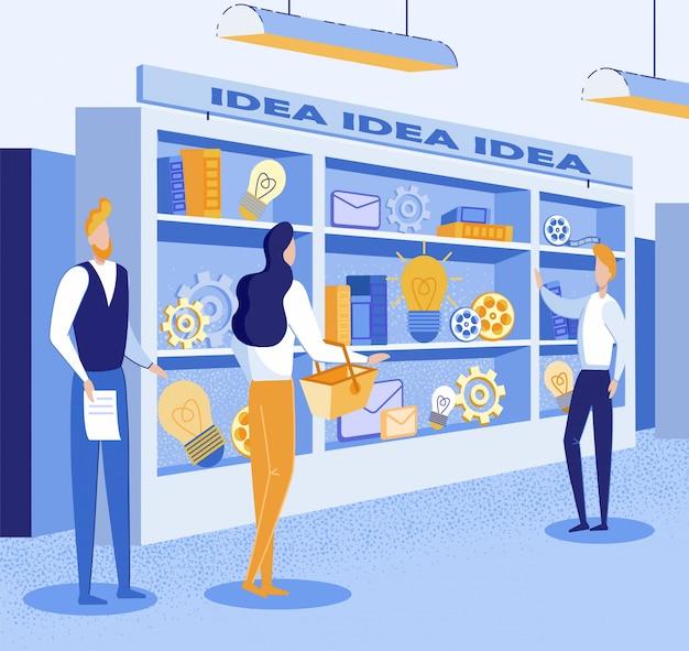 Illustration Sur L'achat D'une Bonne Idée Au Marché Vecteur Premium