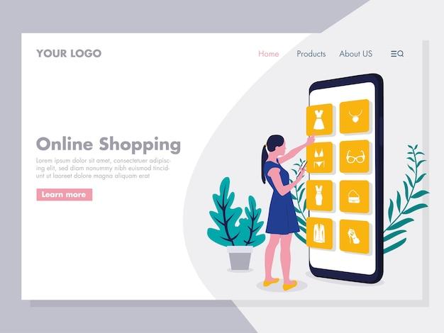 Illustration d'achat en ligne pour la page de destination Vecteur Premium