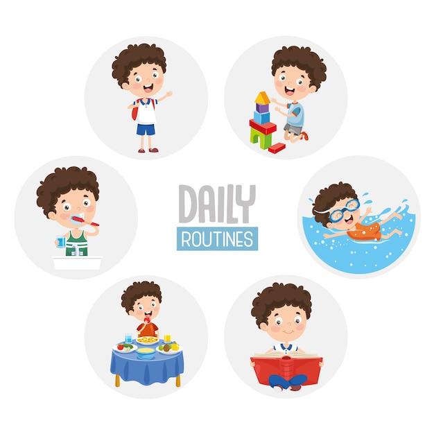 Illustration des activités quotidiennes quotidiennes des enfants Vecteur Premium