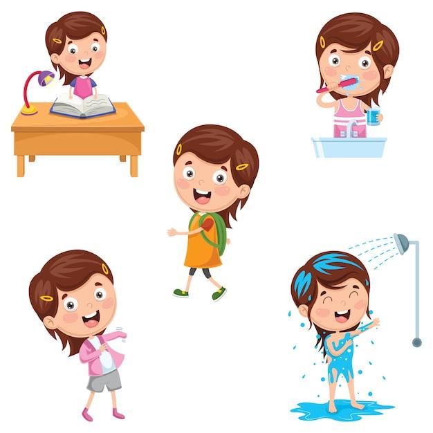 Illustration des activités routinières quotidiennes des enfants Vecteur Premium