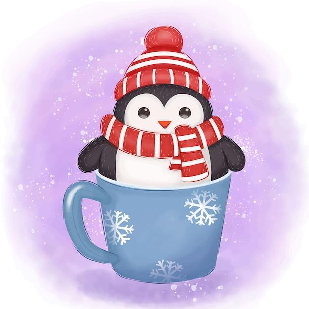 Illustration adorable de pingouin pour la décoration de noël Vecteur Premium