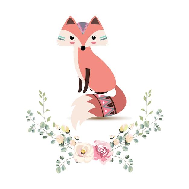 Illustration adorable de renard tribal Vecteur Premium
