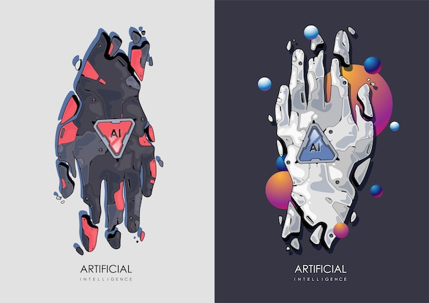 Illustration D'affaires Futuriste Concept Ai. Main Robotique, Concept D'intelligence Artificielle. Illustration Moderne. Vecteur Premium