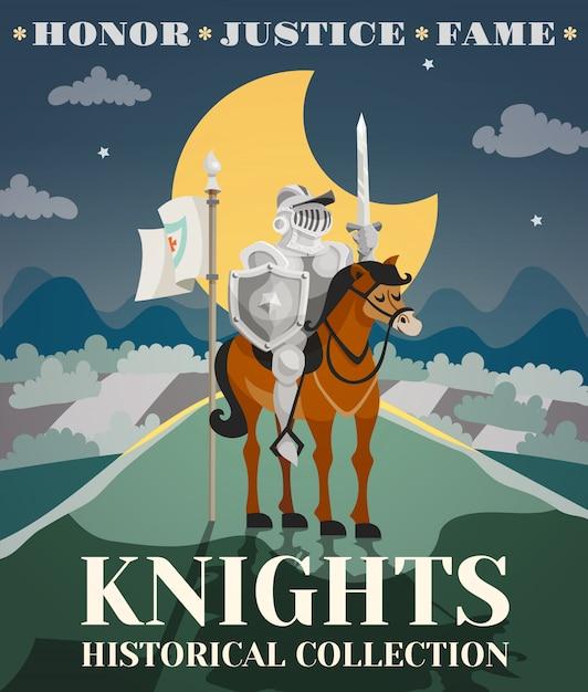 Illustration d'affiche de chevalier Vecteur gratuit