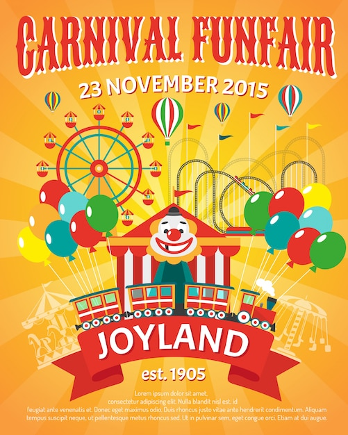 Illustration de l'affiche de la fête foraine Vecteur gratuit