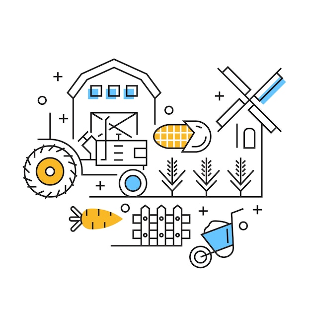 Illustration De L'agriculture Vecteur Premium