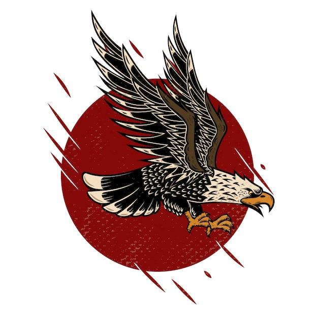 Illustration D'aigle Dans Le Style De Tatouage Old School. Vecteur Premium
