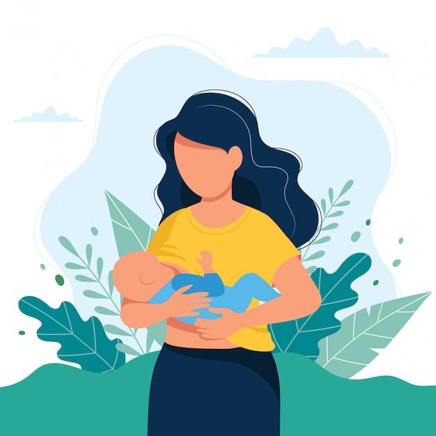 Illustration de l'allaitement maternel, la mère nourrit un bébé avec le sein sur fond naturel Vecteur Premium