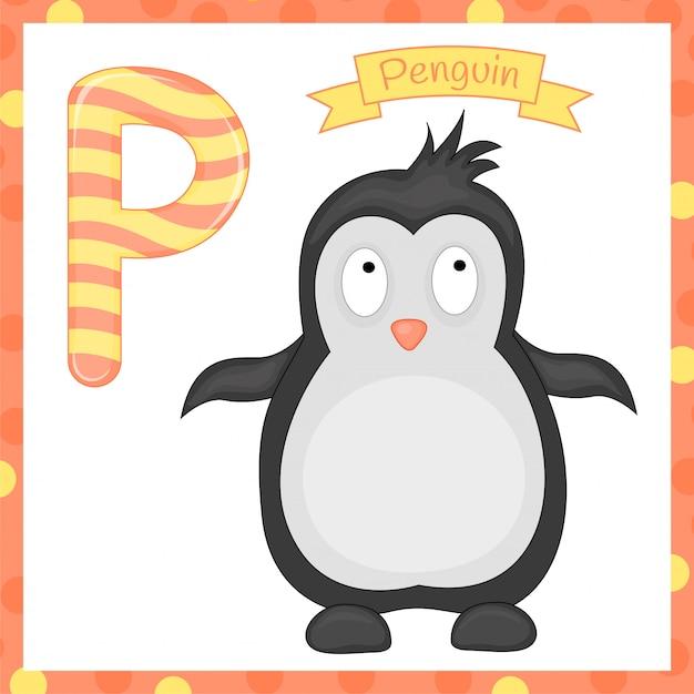 Illustration de l'alphabet animal isolé lettre p est pour l'alphabet de dessin animé de pingouin Vecteur Premium