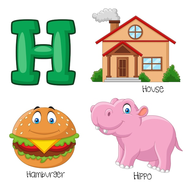 Illustration de l'alphabet h Vecteur Premium