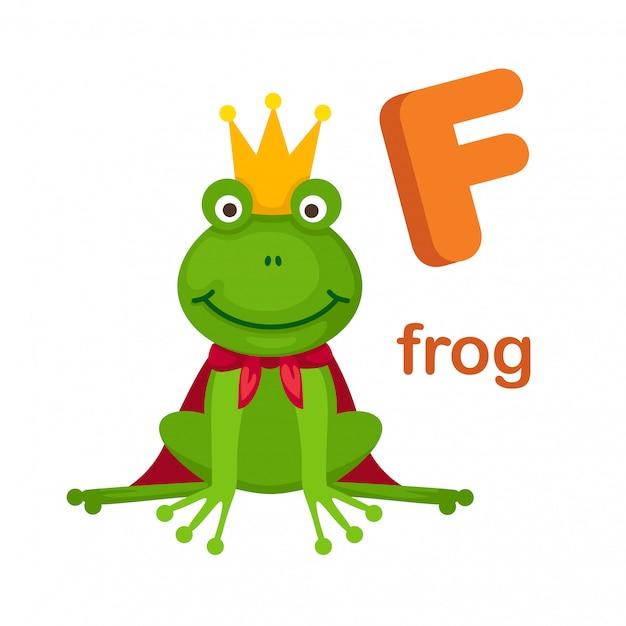 Illustration alphabet isolé lettre f grenouille Vecteur Premium