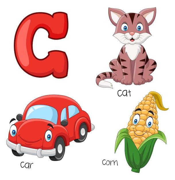 Illustration de l'alphabet c Vecteur Premium