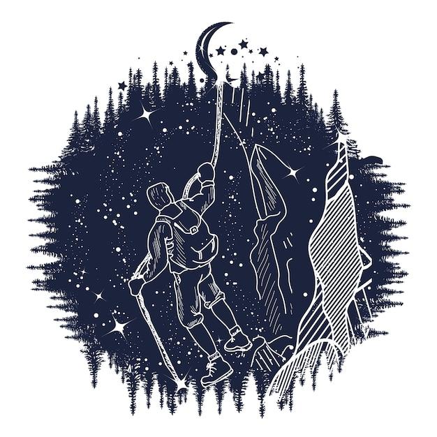Illustration d'alpiniste Vecteur Premium