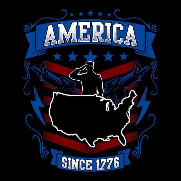 Illustration américaine avec carte et ornement docorative Vecteur Premium