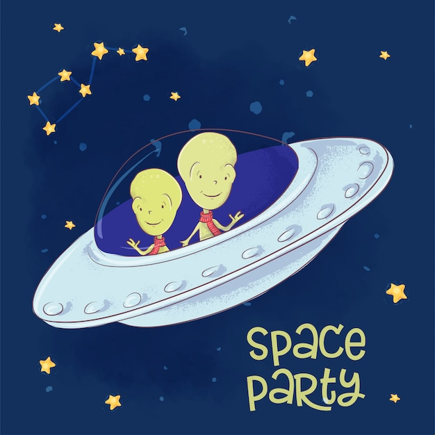 Illustration d'amis cosmiques dans une soucoupe volante. dessin à main levée Vecteur Premium
