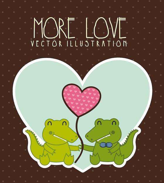 Illustration d'amour de crocodile sur illustration vectorielle fond marron Vecteur Premium