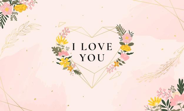 Illustration D'amour Avec Fleurs Vintage Et Diamant Vecteur Premium