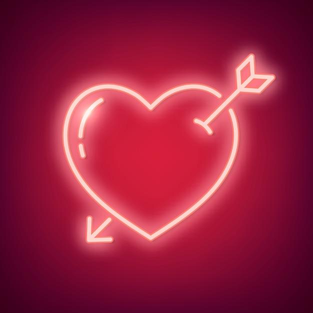 Illustration d'amour néon Vecteur gratuit