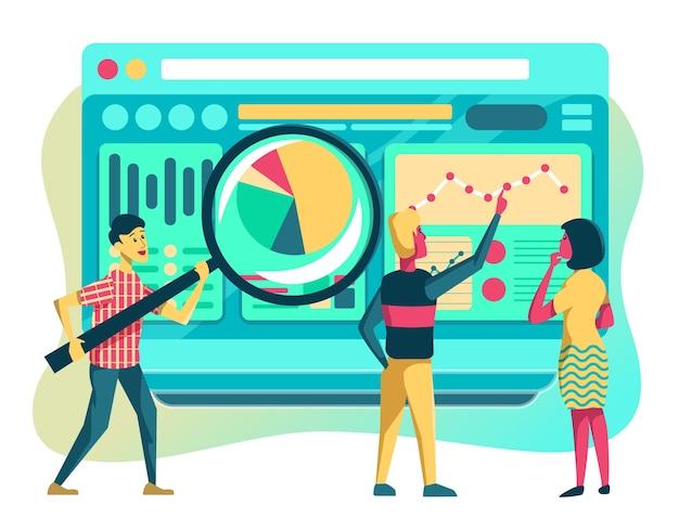 Illustration D'analyse Web, Analyse Du Rapport D'activité Pour Aider à Prendre La Meilleure Décision. Vecteur Premium