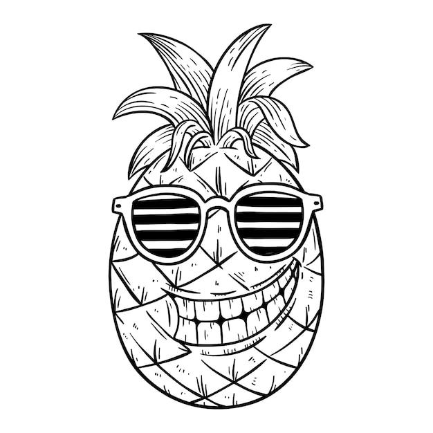 Illustration D'ananas Cool Summer Porte Des Lunettes Avec Style Dessiné Ou Croquis à La Main Vecteur Premium
