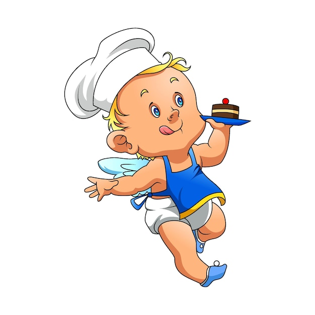 L'illustration De L'angle Bébé Avec La Toque Et Tenant Un Petit Gâteau Avec La Cerise Vecteur Premium
