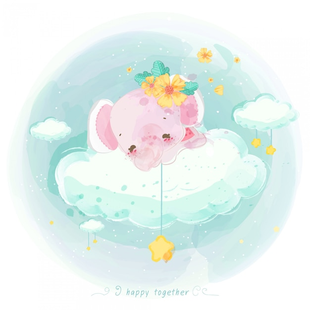 Illustration d'un animal mignon sur un nuage Vecteur Premium