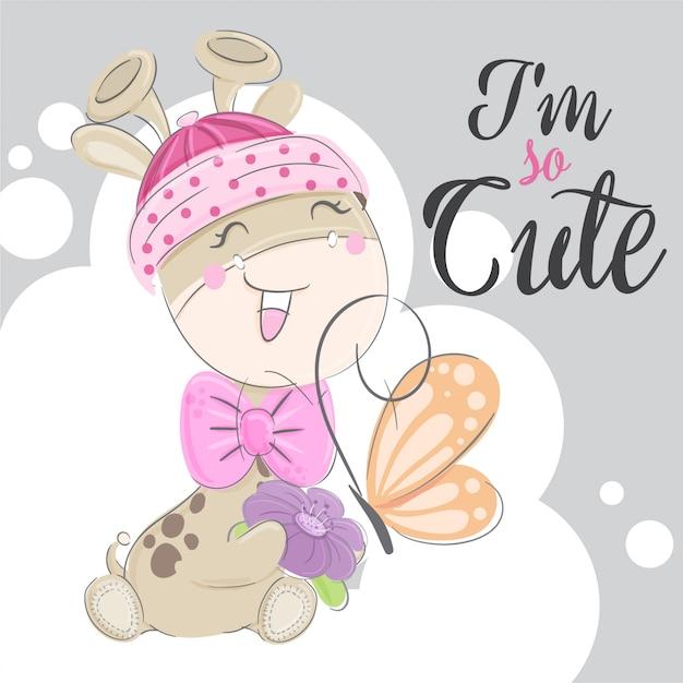 Illustration animale mignonne petite girafe dessiné à la main Vecteur Premium