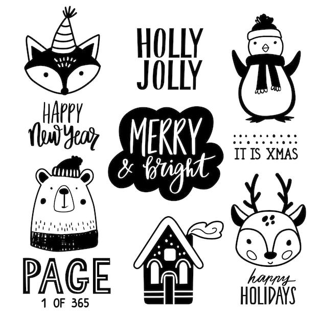 Illustration D'animaux De Doodle Dessinés à La Main De Noël. Vecteur Premium