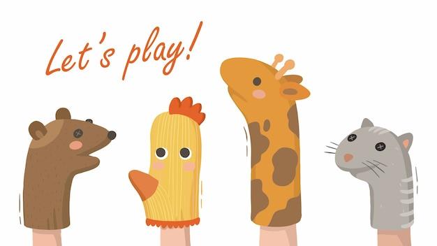 Illustration D'animaux De Théâtre De Doigt De Marionnettes à La Maison Pour Enfants à Partir De Chaussettes Vecteur Premium