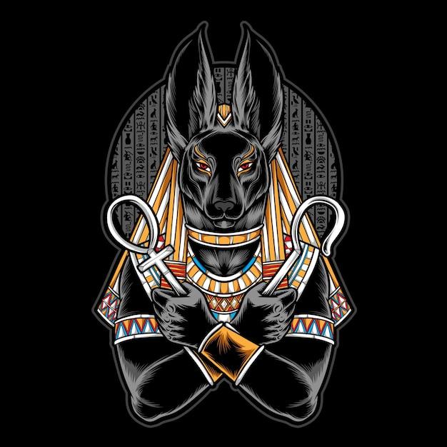 Illustration De L'anubis égyptien Vecteur Premium