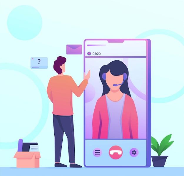 Illustration d'appel de service mobile de service à la clientèle Vecteur Premium