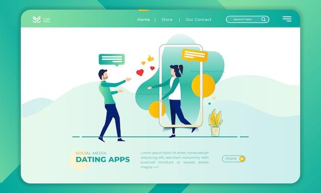 Illustration d'une application de rencontres sur la page de destination Vecteur Premium