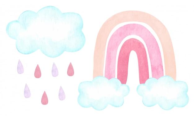 Illustration Aquarelle Avec Arc-en-ciel Neutre Carme à La Mode, Nuages, Gouttes De Pluie Isolés Sur Blanc. Shower De Bébé, Décoration Chambre D'enfant. Vecteur Premium