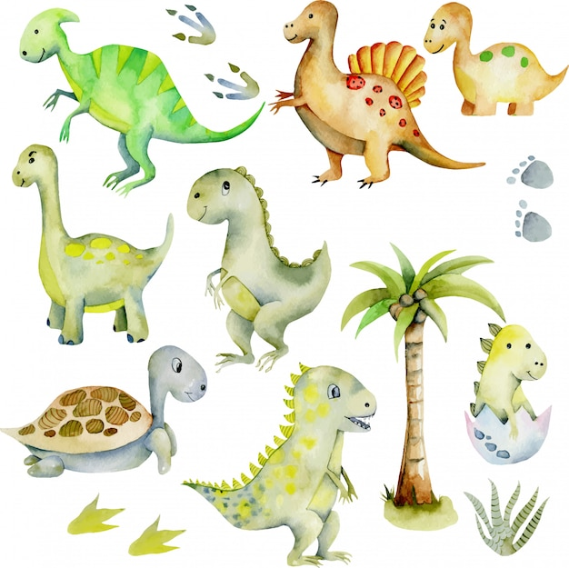 Illustration aquarelle collection de dinosaures mignons Vecteur Premium