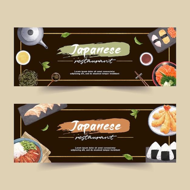 Illustration aquarelle avec creative sushi sur le thème des bannières, des publicités et des dépliants. Vecteur gratuit