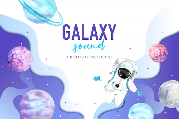 Illustration aquarelle de galaxie astronaute et planète. Vecteur gratuit