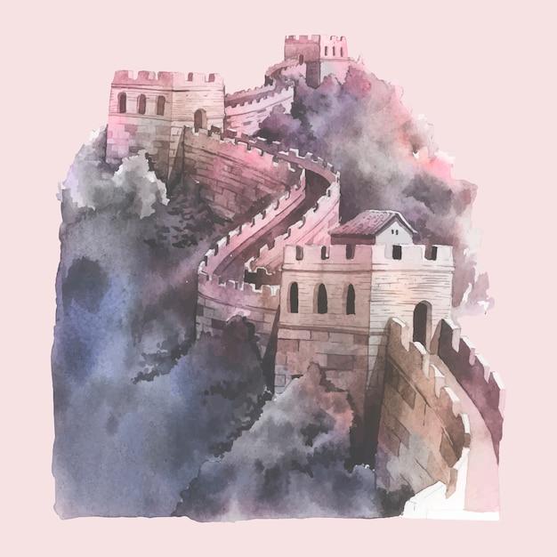 Illustration aquarelle de la grande muraille de chine Vecteur gratuit