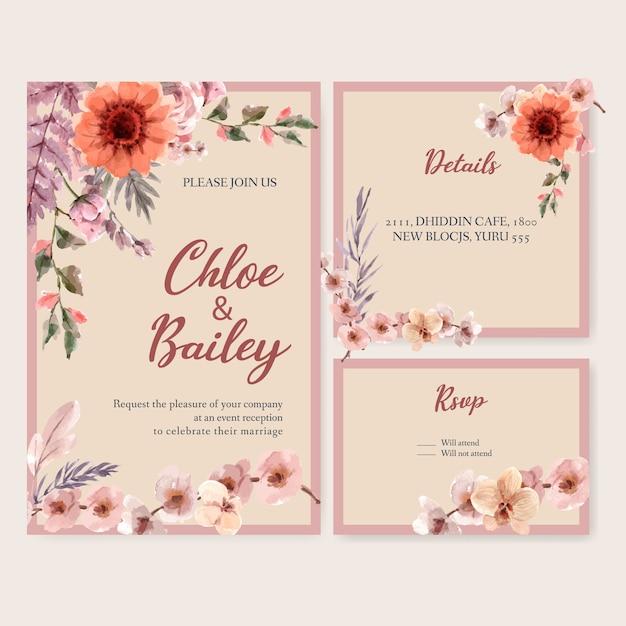 Illustration Aquarelle De Modèle De Carte De Mariage Floral Séché Vecteur gratuit