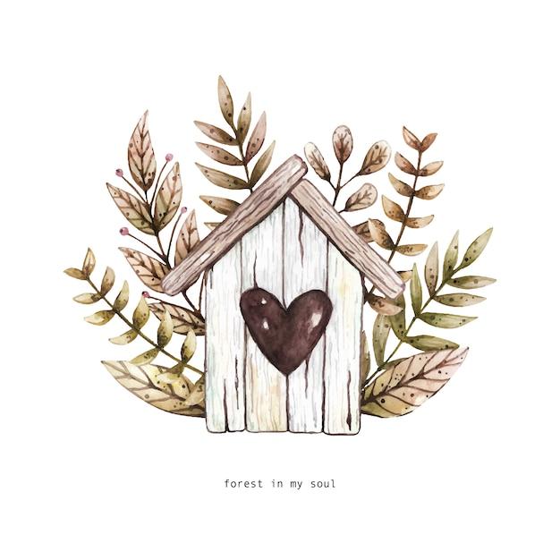 Illustration aquarelle avec nichoir en bois et objets floraux. Vecteur Premium