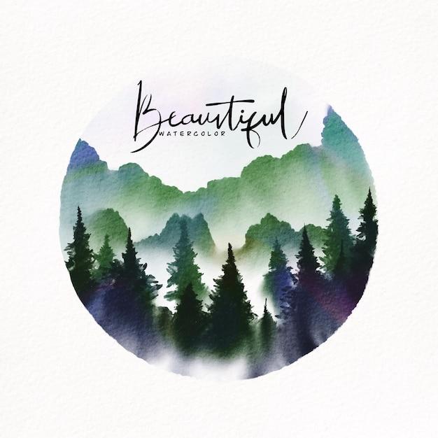 Illustration Aquarelle. Paysage De Montagnes, Arbres, Ciel, Fond Aquarelle Vecteur Premium