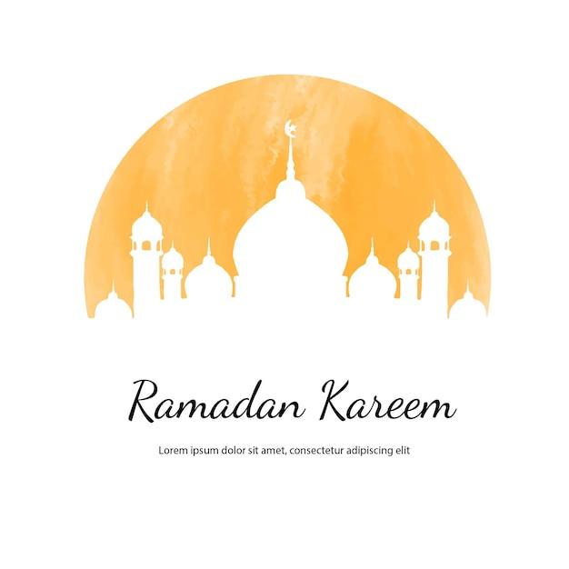 Illustration Aquarelle Ramadan Kareem Avec Mosquée Vecteur Premium